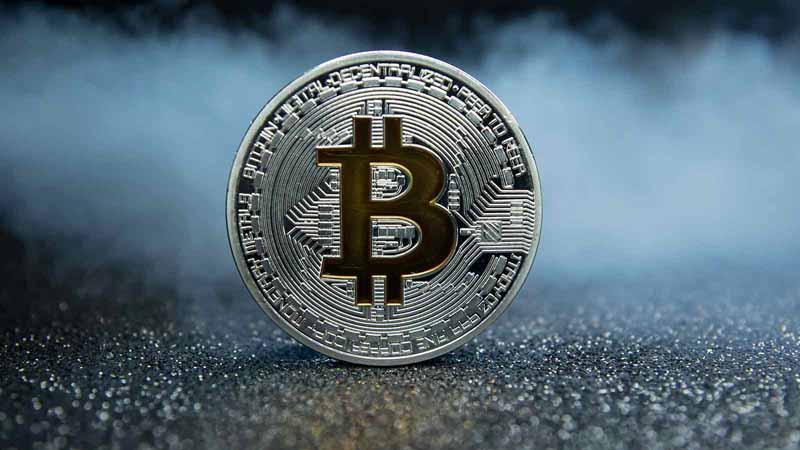 A silver bitcoin.