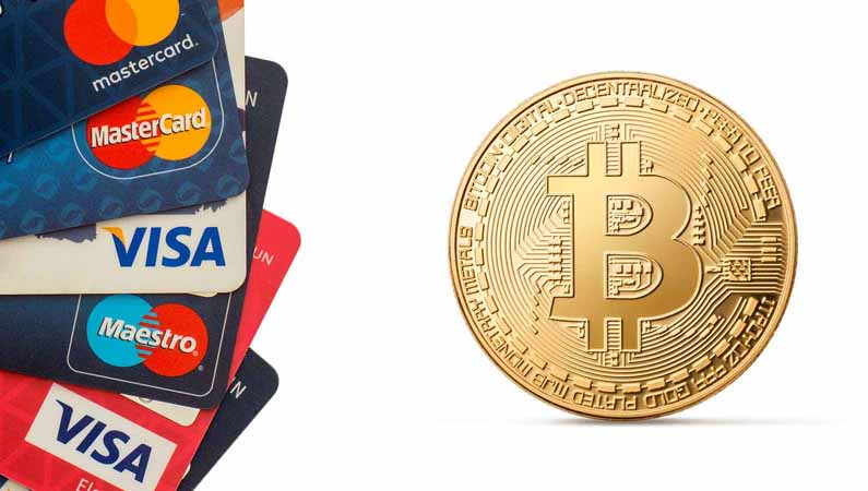 Stack of credit cards and the Bitcoin symbol.