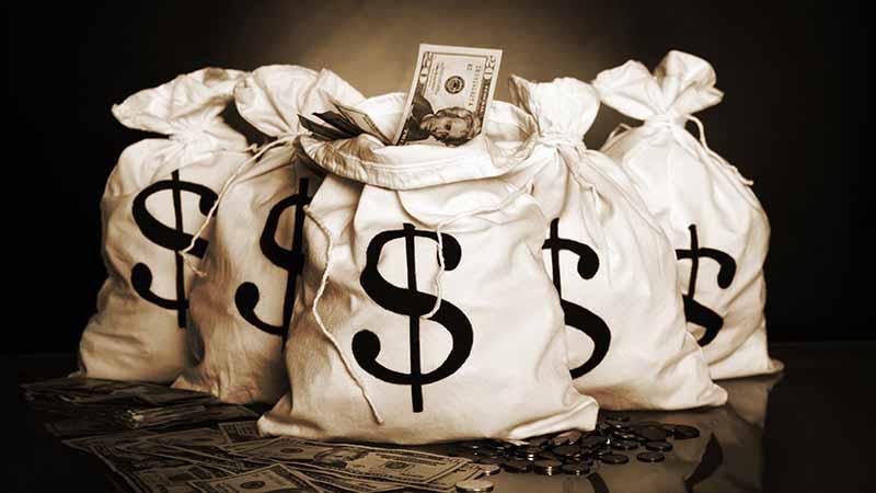 Bags of US dollars.