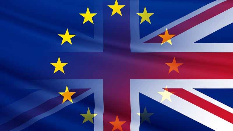 Hybrid UK and EU flag.