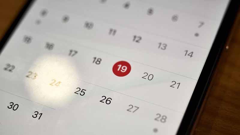 A calendar app on a smartphone screen.