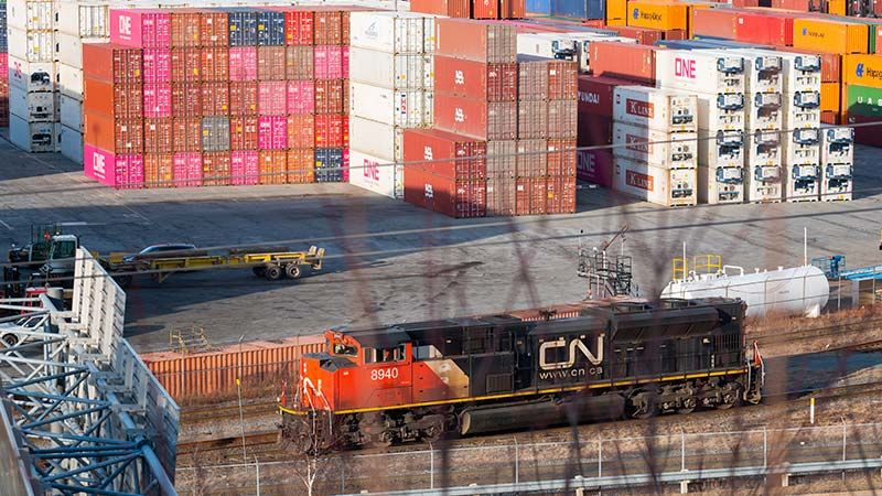 A CN Rail diesel locomotive.