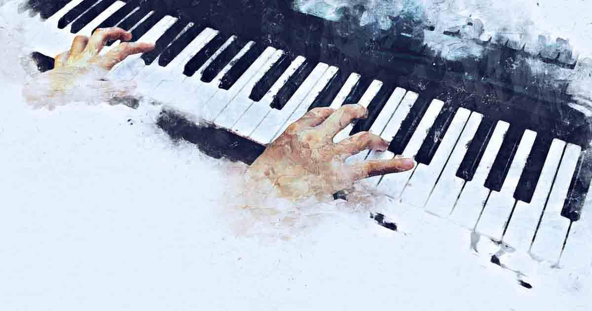 An oil painting of hands playing a grand piano