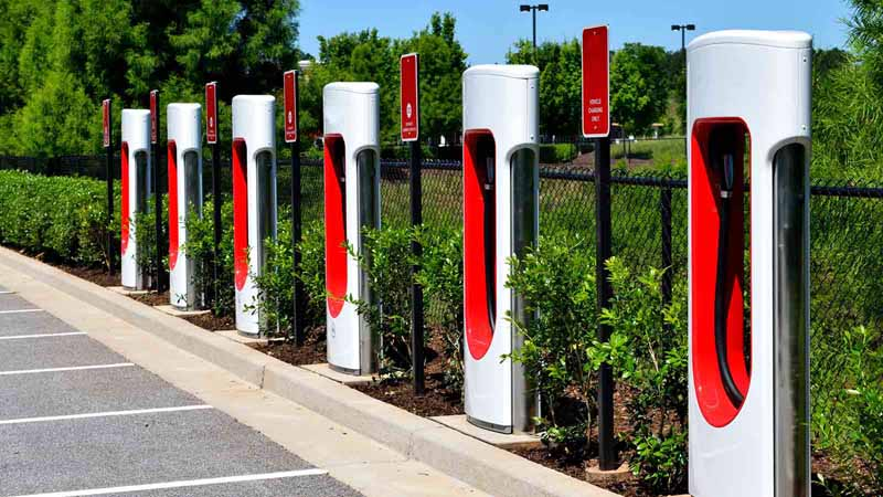 An electric car charging area.
