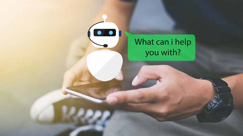 """Illustration of a chatbot saying """"What can I help you with?"""""""