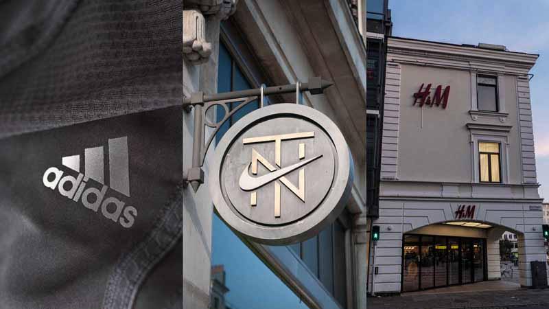 Adidas logo; Nike store sign; H&M storefront.