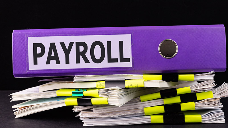 'Payroll' written on a large binder.