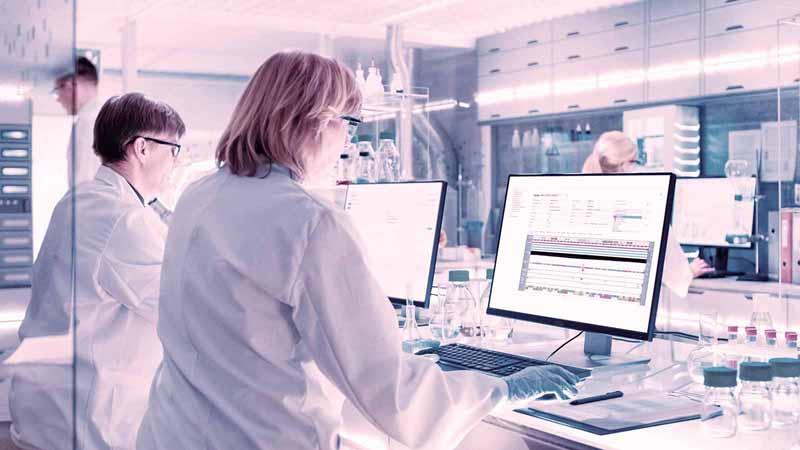 Researchers in a lab.