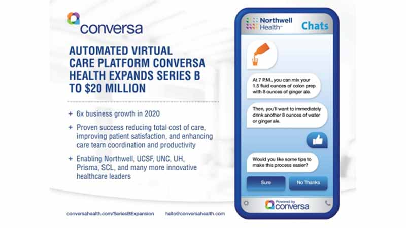 Conversa Health's mobile software next to statistics about startup's funding plans