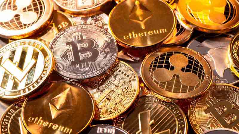 Various cryptocurrency coins.