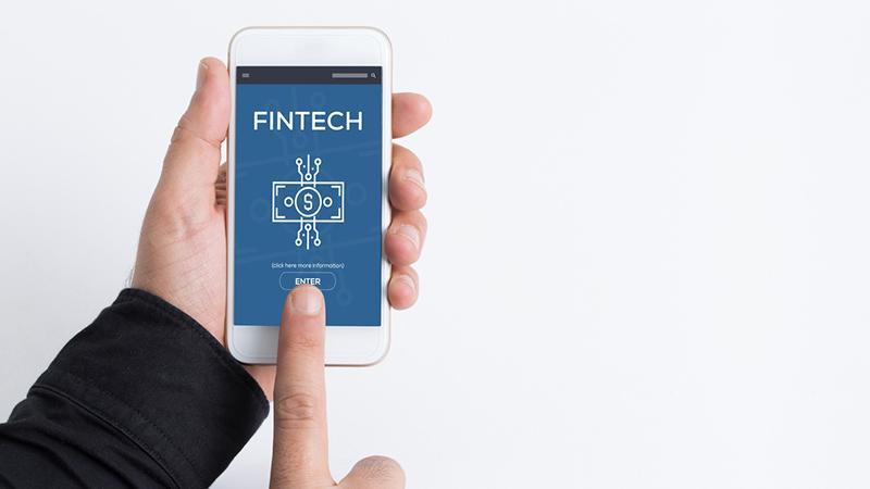 Smartphone screen reading 'Fintech.'