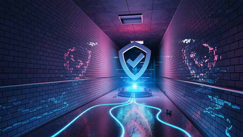 Digital art of a cybersecurity shield.