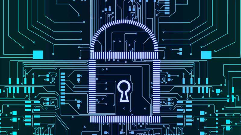 Digital art depicting cybersecurity with a lock and circuit boards