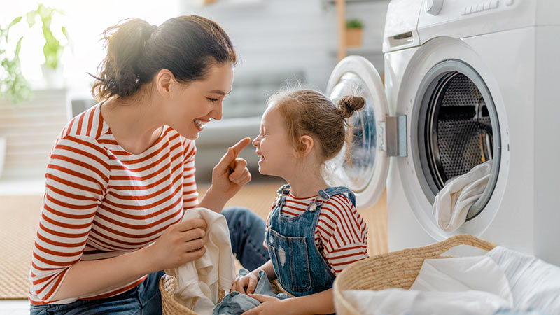 A family doing laundry.