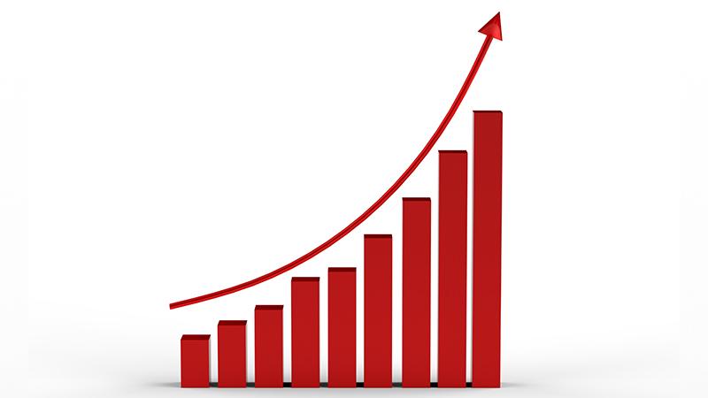 An upward trending graph.
