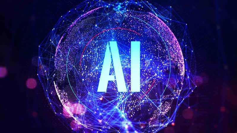 Abreviation for artificial Intelligence on a digital globe background.