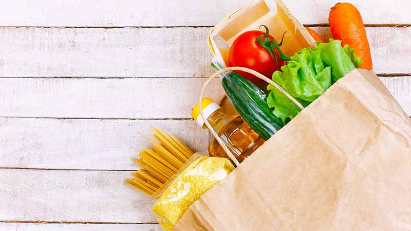 Paper bag with groceries.