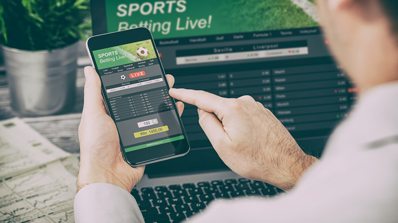 Person using a phone for sports betting.