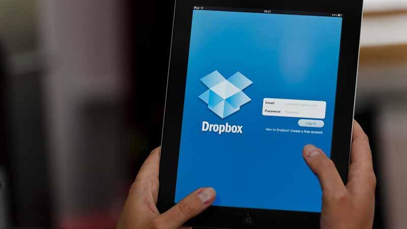 Dropbox app on a tablet.