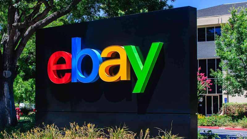 Logo of online marketplace eBay at company headquarters