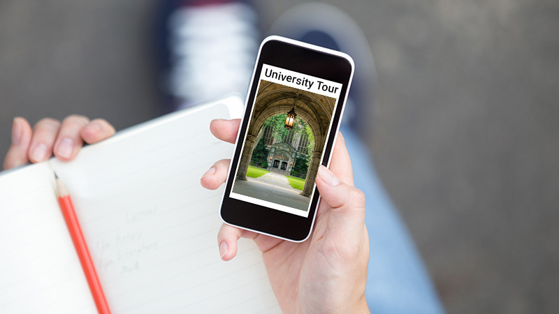 """Phone showing """"University Tour"""" at the top."""