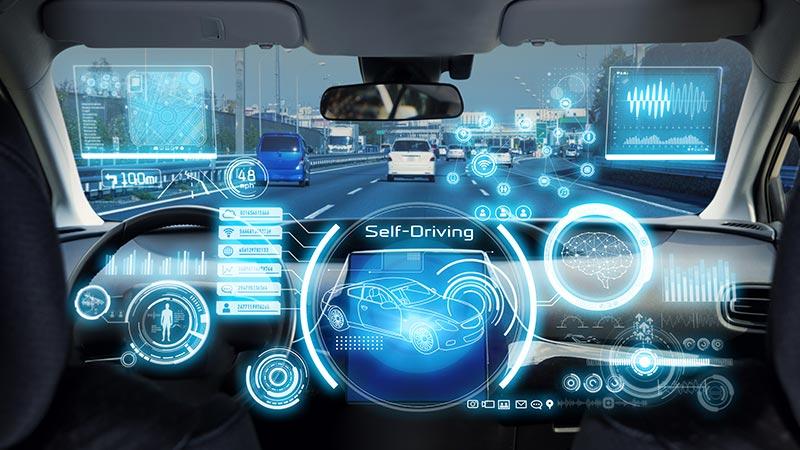 Cockpit of a concept autonomous car.