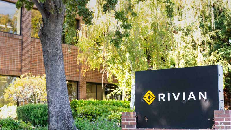 The front of a Rivian building