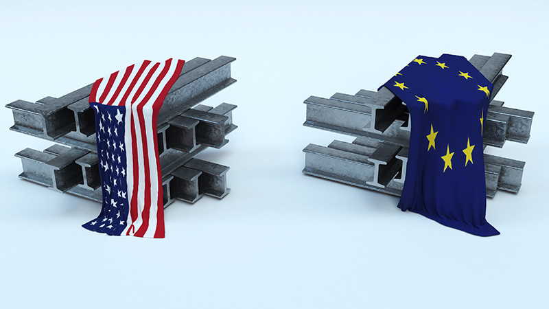 3D illustration of steel beams with US and EU flags.