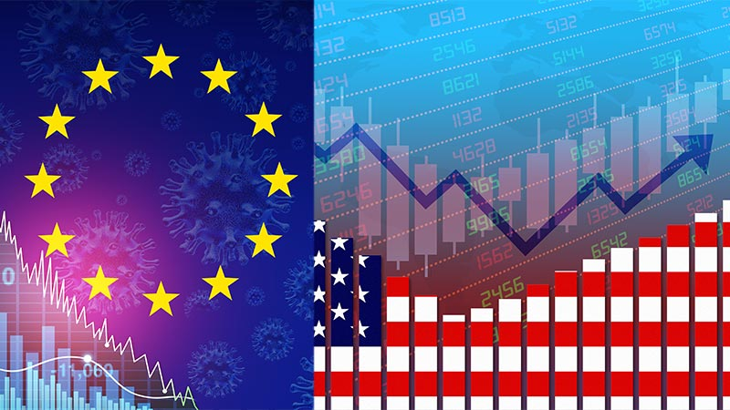 European Union flag with negative financial charts and US flag with positive charts.