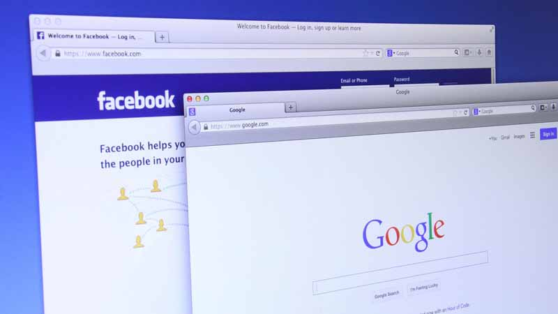 Computer screen displaying Google and Facebook browser windows