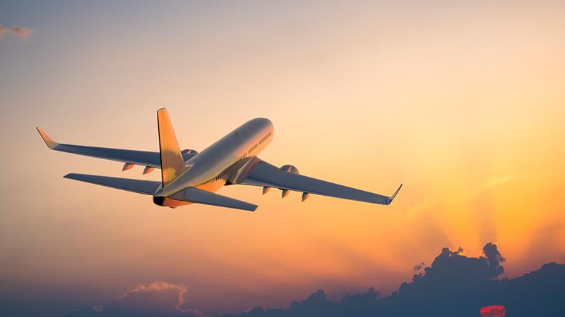 Passenger plane in flight.