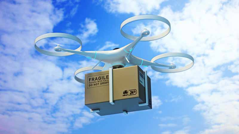 3D rendering of a drone delivering a package.