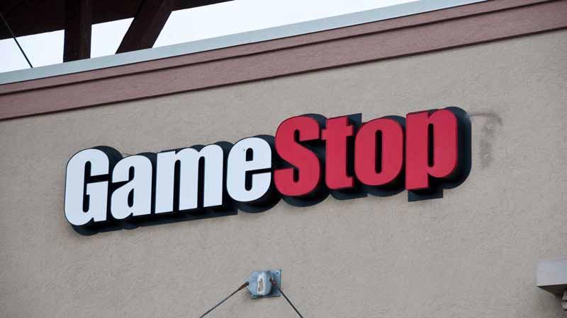 A GameStop building sign.