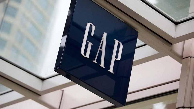 Closeup of a Gap sign.