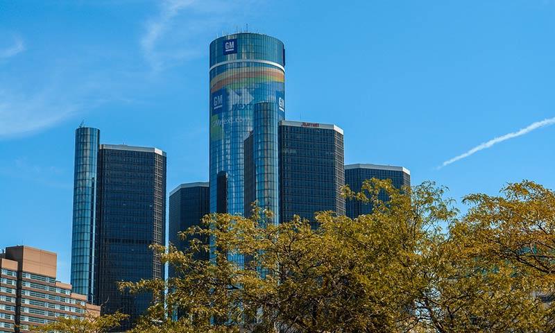 GM Renaissance Center, Rencen in Detroit - General Motors headquarters.