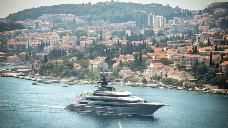 A superyacht sailing in the Adriatic Sea.