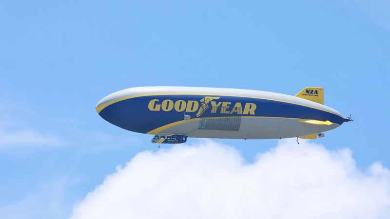 Goodyear blimp in flight.