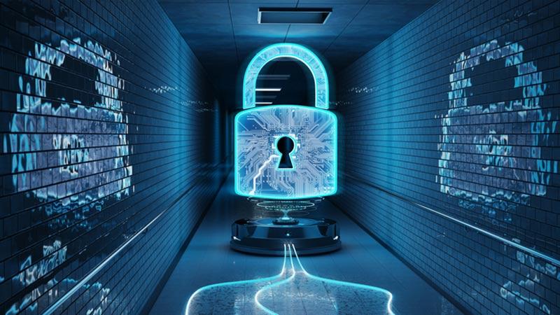 Blue underground cyber security hologram with digital padlock 3D rendering.