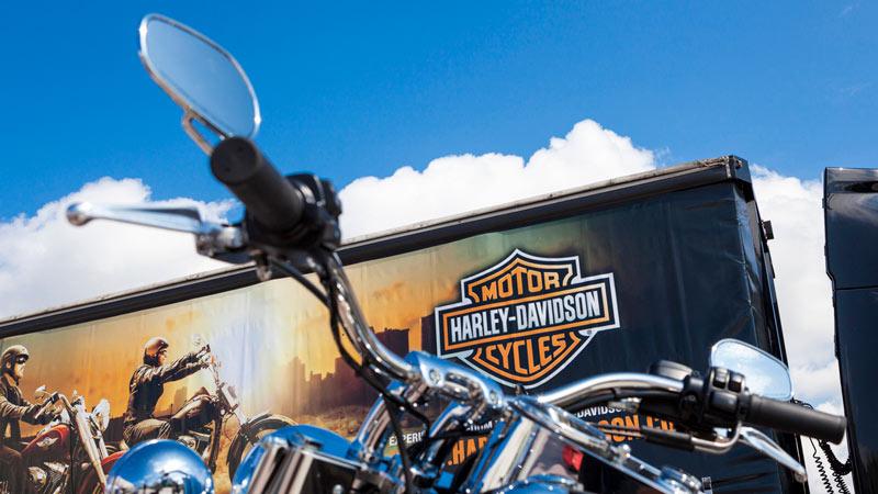 Closeup of a Harley-Davidson bike.