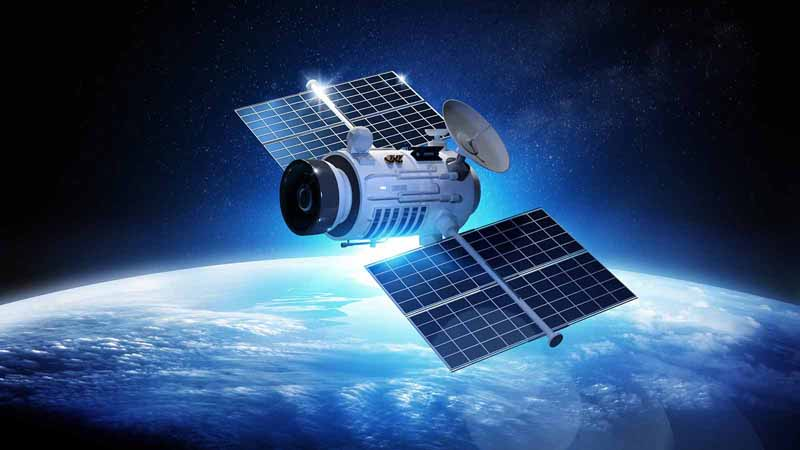 Communications satellite orbiting above Earth.