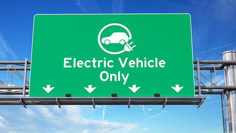Road sign that says 'Electric Vehicle Only.'