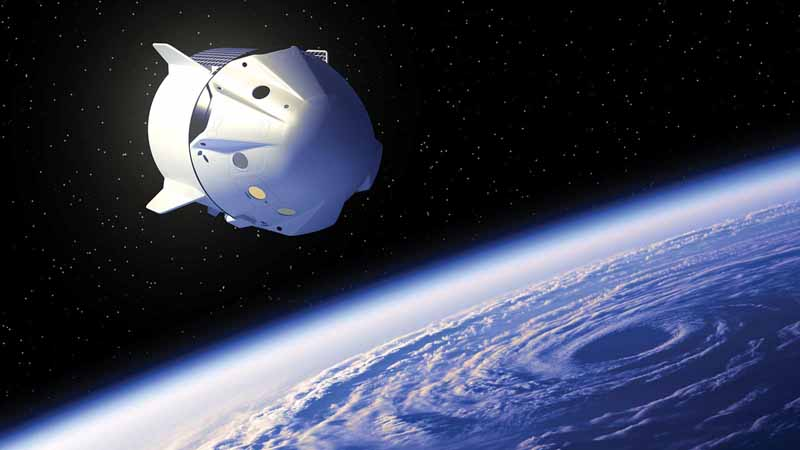 3D illustration of commercial spacecraft above Earth.