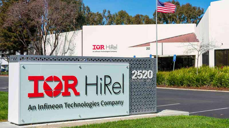 International Rectifier HiRel sign outside Silicon Valley headquarters.