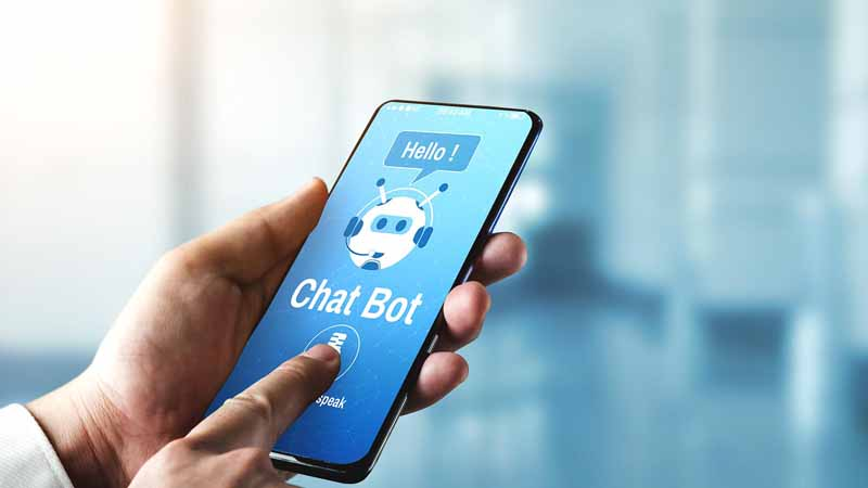 Person using a chatbot app on a smartphone.