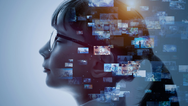 Abstract image with AI concept. Side view of woman with video thumbnails.