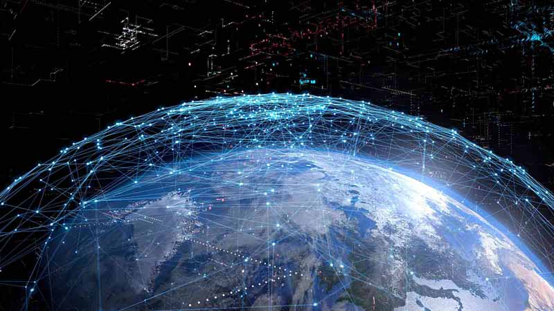 Digital concept of global communication network.