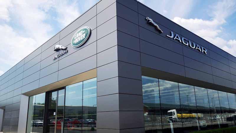 A Jaguar Land Rover showroom.
