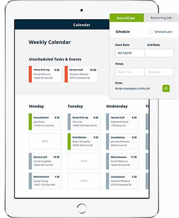 Screenshot of the Startup Jobber's user interface showing features.