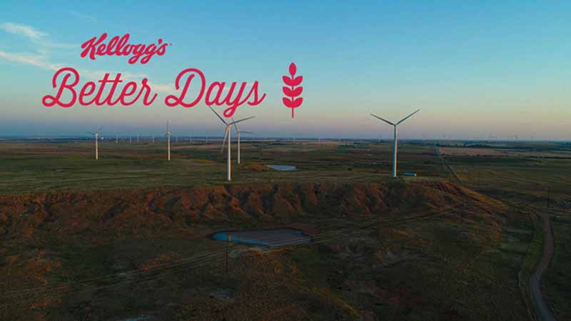 """Landscape with windmills. Text on the image says, """"Kellogg's Better Days."""""""
