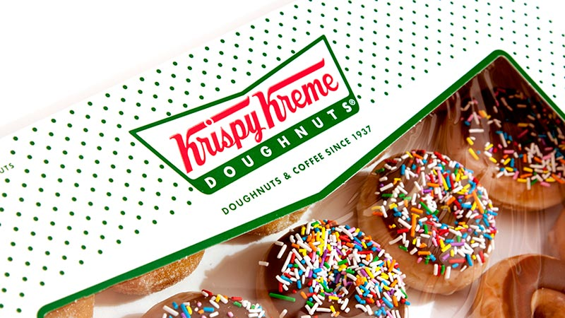 Box of Krispy Kreme donuts.